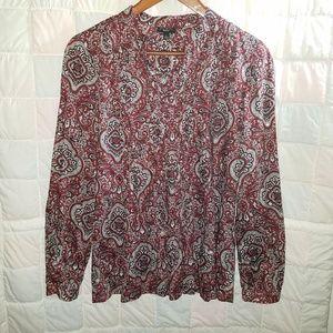 Talbots blouse Small Cotton Sequin Pintuck Paisley